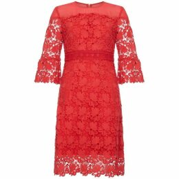 Yumi Lace Panel Dress With Flared Sleeves