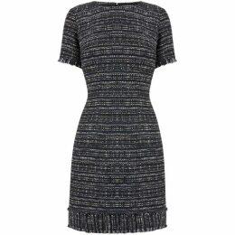 Warehouse Navy Tweed Fringe Dress