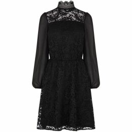 Oasis Lace And Sheer Sleeve Skater Dress