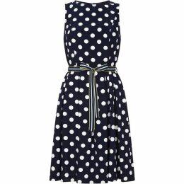 Yumi Curves Sleeveless Polka Dot Dress
