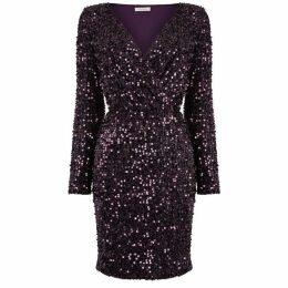 Oasis Long Sequin Tinsel Wrap Dress