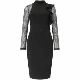 Adrianna Papell Black Lace Sleeve Cocktail Dress