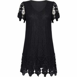 Mela V Neck Border Lace Dress