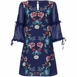 Yumi Floral Placement Tunic Dress With Sheer Sleeves