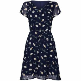 Yumi Daisy Print Tie Waist Skater Dress