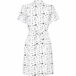 Yumi Dalmatian Dog Print Shirt Dress