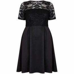 Mela London Curve Floral Lace Print Plus Size Skater Dress