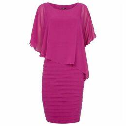 Roman Originals Pleated Chiffon Overlay Shift Dress
