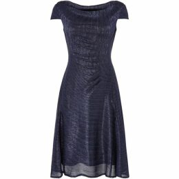 Tahari Elegant Navy Metallic Foil Dress