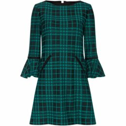 Tahari Bell Sleeve Plaid Jacquard Shift Dress