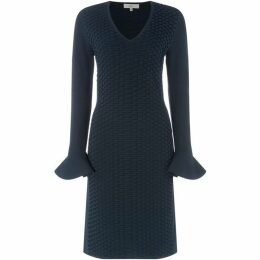 ISSA Knitted Textured Flute Sleeve Dress
