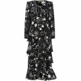 Biba Mono constellation print ruffle dress