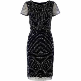 Adrianna Papell Embellished shift dress with mesh sleeves