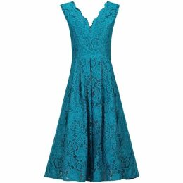 Jolie Moi Scalloped V Neck Pleated Prom Dress