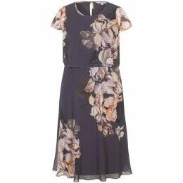 Chesca Iris Floral Print Layered Chiffon Dress