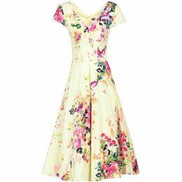 Jolie Moi Floral Print V Neck Swing Dress