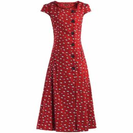 Jolie Moi Button Front Fit And Flare Dress