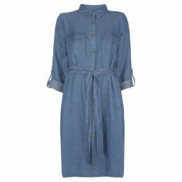 Mint Velvet Blue Belted Chambray Dress