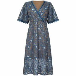 Mela Floral Lace Print Wrap Dress
