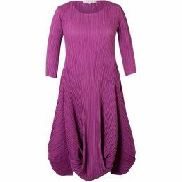 Chesca Plus Size Crush Pleat Matt Crepe Drape Hem Dress