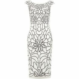 Adrianna Papell Cap sleeved embellished petal print dress