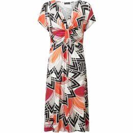 James Lakeland Short Sleeve Ruched Print Dress