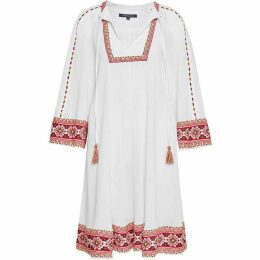 French Connection Adanna Crinkle Embroidered Smock Dress