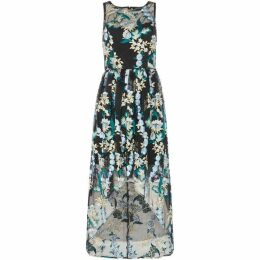 Adrianna Papell Embroidered hi low floral dress