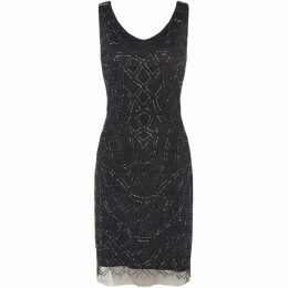 Lace and Beads V neck sequin shift dress