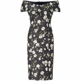 Adrianna Papell Black Floral Printed Cocktail Dress