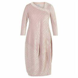 Chesca Aysmmetric Neckline Pleated Velvet Dress