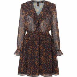 Maison Scotch Leopard Dress with ruffle details