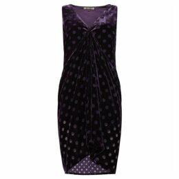 Biba Drape front velvet tunic dress