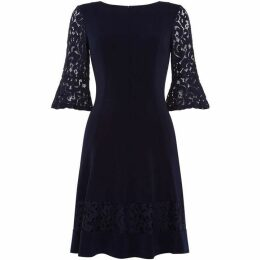 Eliza J High round neck flare sleeve dress
