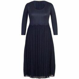 Chesca Crush Pleat Lace Dress With Scallop Trim
