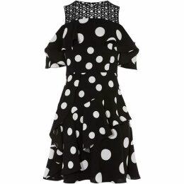 Karen Millen Polka-Dot Cold Shoulder Dress