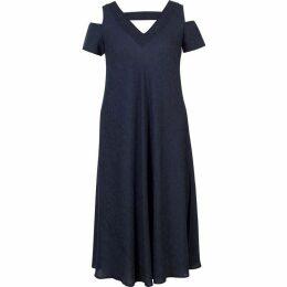 Chesca Cold Shoulder V Neck Crinkle Dress
