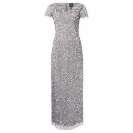 Adrianna Papell Petite embellished V neck short sleeve maxi dress