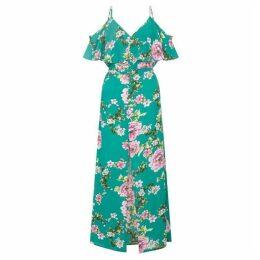 Yumi Floral Cold-Shoulder Maxi Dress
