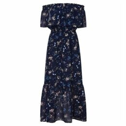 Yumi Dragonfly Print Bardot Maxi Dress