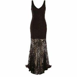 Dex Clothing Sleeveless V-Neck Maxi Flared Lace Dress