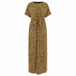 Warehouse Leopard Tie Front Maxi Dress