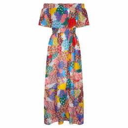 Yumi Heart Print Bardot Maxi Dress