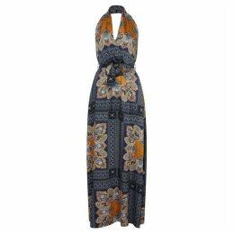 Mela Scarf Print Halter Neck Maxi Dress