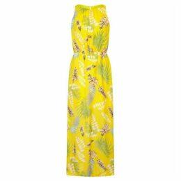 Mela Exotic Leaf Print High Neck Maxi Dress