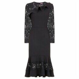 Chi Chi Crochet Peplum Hem Midi Dress