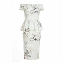 Quiz Grey And Pink Floral Bardot Midi Dress