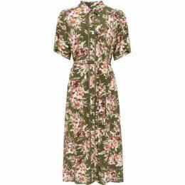 French Connection Floriana Drape Midi Shirt Dress