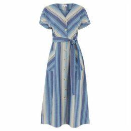 Warehouse Chevron Stripe Midi Dress