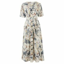 Warehouse Bird Print Linen Mix Midi Dress